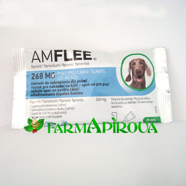 AMFLEE DOG 268 mg spot-on, L (20-40 Kg), 1 pipetă